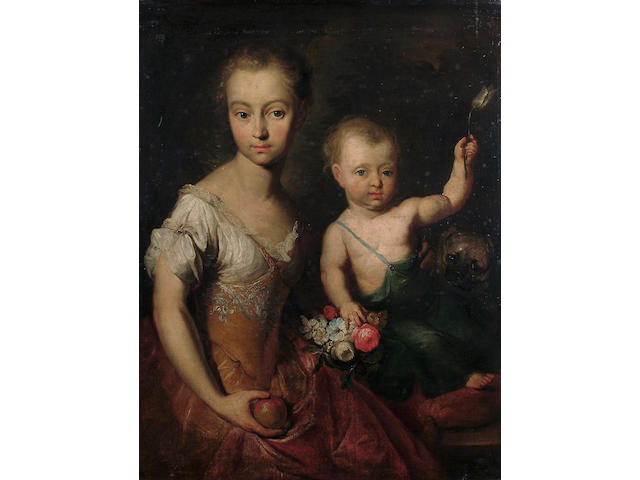 Herman van der Myn (Dutch, 1684-1741) A double portrait of a girl and a boy seated with a pug, the girl wearing a yellow dress, holding an apple, the boy holding a tulip, 90 x 69.4 cm (35 3/8 x 27 1/4 in)