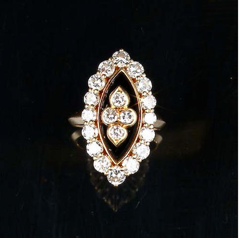 An onyx and diamond ring, by Van Cleef and Arpels,