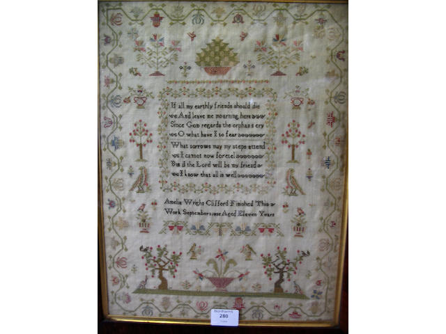 A William IV sampler finely worked in coloured silk threads to linen ground,