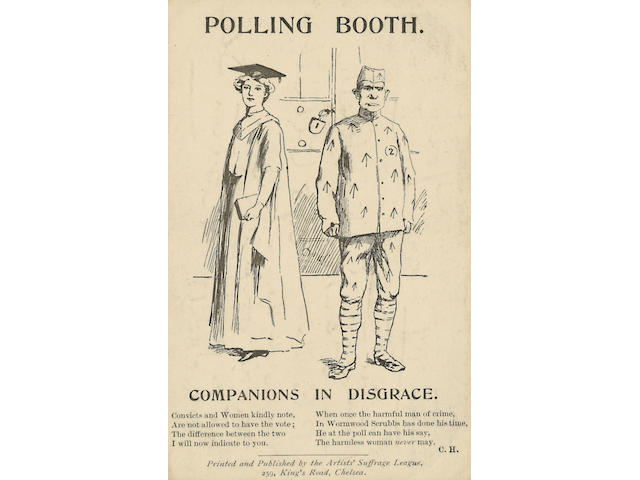 """Suffragettes A card published by the Artist's Suffrage League """"Polling Booth - Companions in Disgrace"""" with an interesting message in pencil """"Bow Street/ July 9th 1909/ As I'm not often up here as yet I thought you might like a P.C. There are 108 of us - & the rotten old government is frightened so we don't anticipate Holloway/ Yours Y."""" This refers to the 108 suffragettes who were arrested as a result of demonstrations in support of Marion Wallace Dunlop who was on hunger strike."""