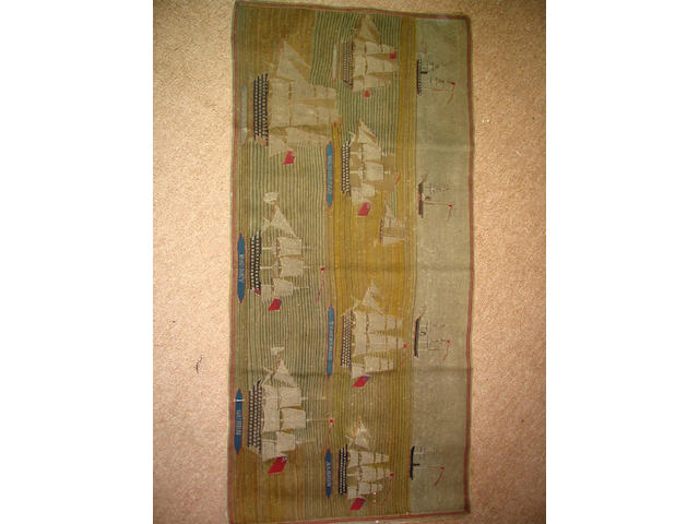 A mid-19th Century chain stitch woolwork sailor's rug or wall hanging,