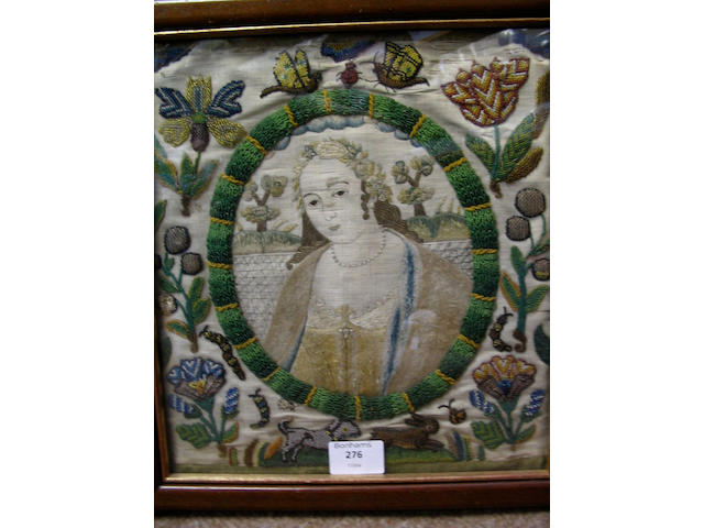A fine Charles II beadwork and silk embroidered panel.