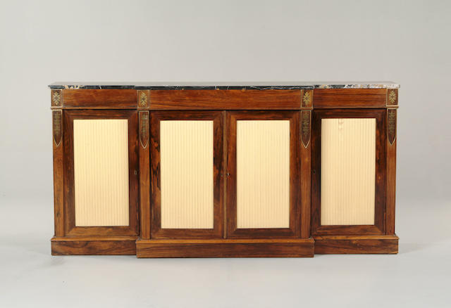 A Regency revival rosewood and brass inlaid breakfront side cabinet