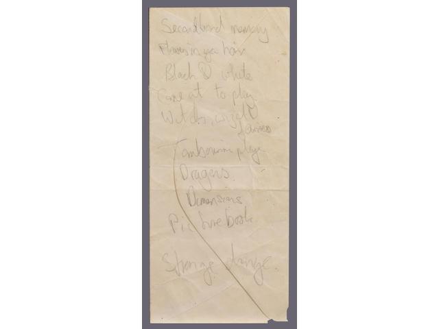 Mick Jagger's handwritten aide-memoire, 1967,