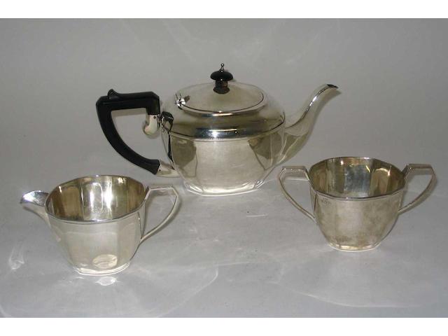 A three piece tea set, by F. H. Adams and Holman, Birmingham, 1939,