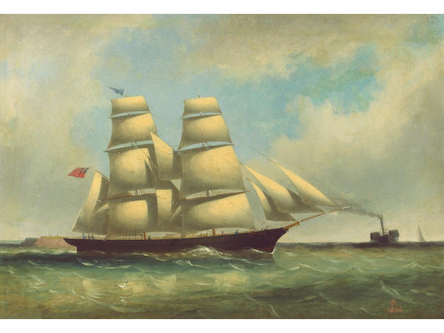 Philip John Ouless (Jersey, 1817-1885) The Jersey Brig 'Escape', undersail, a paddle steamer in the distance, 44.3 x 64.7cm