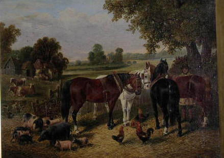 Circle of John Frederick Herring Jnr. (1795-1865) A farmyard scene with horses, pigs and chickens, a