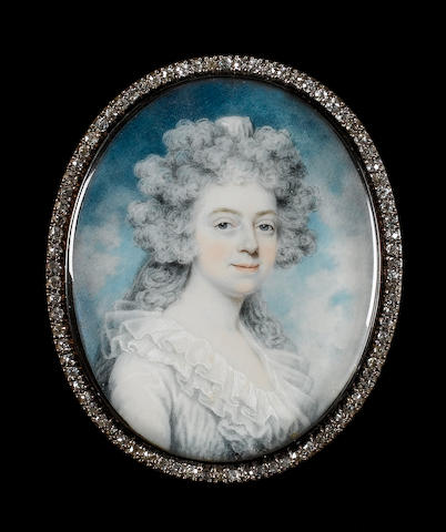 Peter Paillou, A Lady, called Miss Cross, wearing a white dress with wide frilled collar, her hair powdered and curled, a white veil falling from the crown