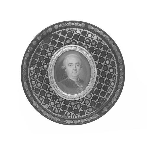 An early 19th century blue bois d'Urci portrait box,