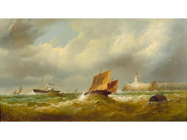 G. Hardy (British fl mid 19th century); 'Squall off Jersey Pier', 44.7 x 80.7cm