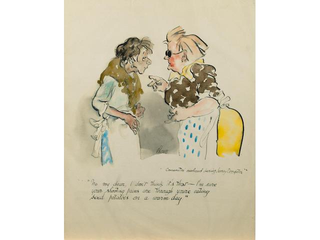 "Edmund Blampied (Jersey, 1886-1966) ""Conversations overheard during Jersey Occupation"", 33 x 25.5cm,"