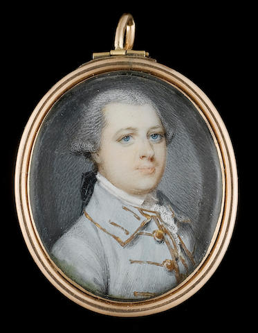 Luke Sullivan, A Gentleman, wearing powder-blue coat edged with gold, matching waistcoat, white shirt, lace cravat, his powdered hair worn en queue