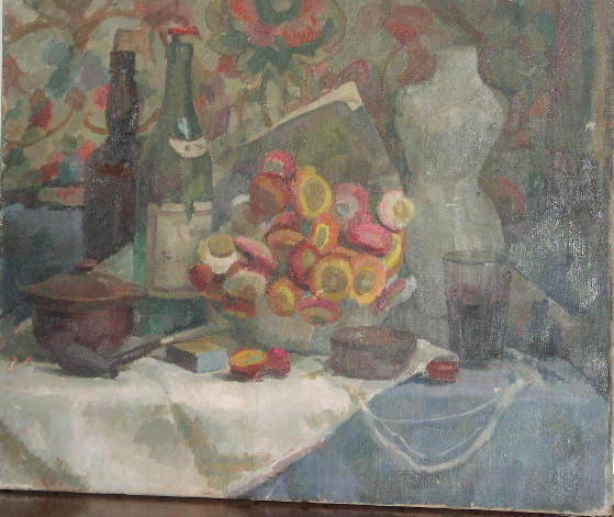 Frederick Brill (1920-1984) A still life with flowers, bottles, and a dressmaker's dummy 50 x 61cm.