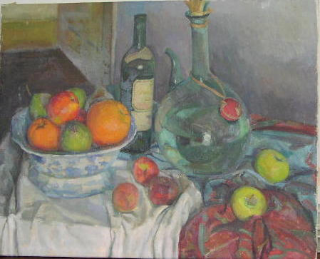 Frederick Brill (1920-1984) A still life with a bowl of fruit and a bottle on a cloth draped table 61 x 76cm.