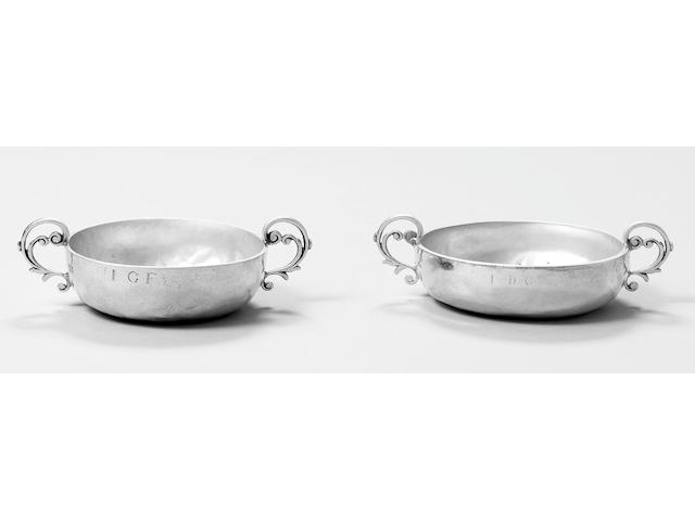 An early 18th century Channel Islands silver Jersey pattern christening bowl, stamped once on side w