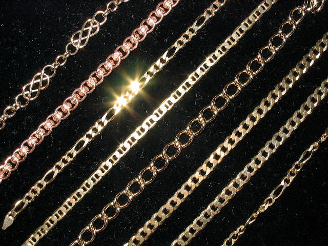 A collection of eight various gold bracelets