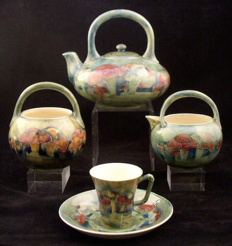 A good Moorcroft 'Claremont' tea set, circa 1913-1916,