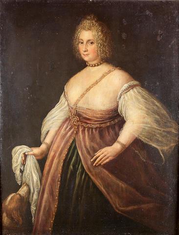 Attributed to Francesco Montemezzano (Verona circa 1540-after 1602 Venice) Portrait of a lady, three