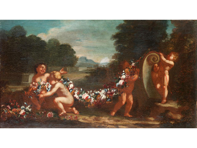 Neapolitan School, 18th Century Putti hanging a garland of flowers in a landscape; and An overturned