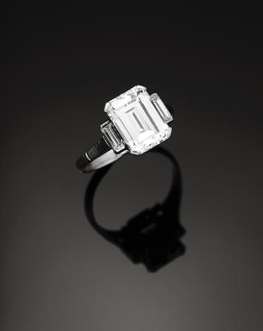 A trap-cut diamond ring