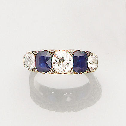 A late Victorian diamond and sapphire five-stone ring