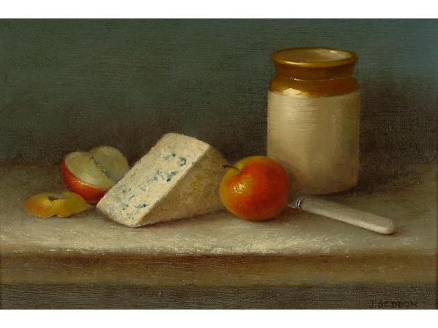 Joyce Seddon SWA (fl.from 1970) 'Still life with blue mug and apples' 16 x 24cm (6 1/4 x 9 1/2in)
