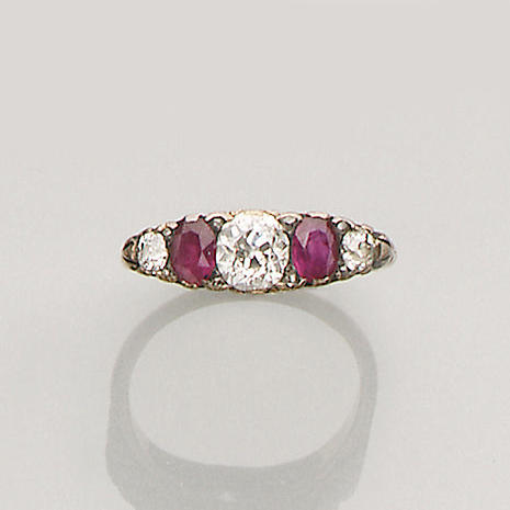 A late Victorian diamond and ruby five-stone ring,