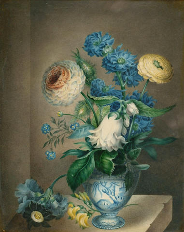 English School (18th/19th Century) 'Still life of mixed flowers in a Chinese bowl' 27 x 21cm (10 1/2 x 8 1/4in)