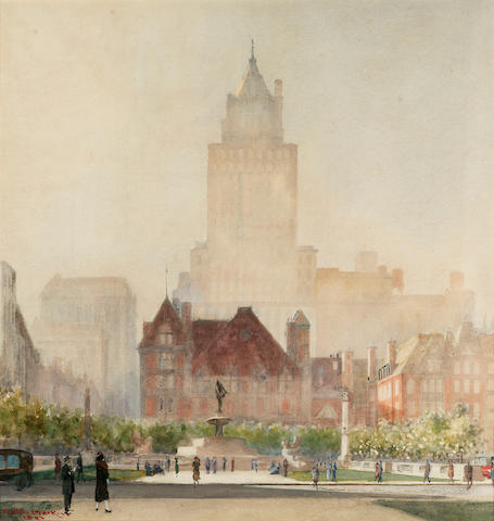 Yoshio Markino (Japanese, 1869-1956) The Plaza Hotel, New York City 50.8 x 48.2 cm. (20 x 19 in.)