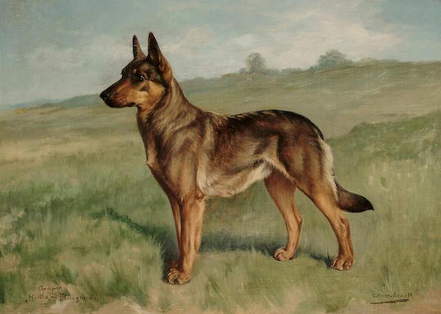 Gustav Muss-Arnolt (American 1858-1927) 'Champion Hertha von Ehrengrund',  56 x 76 cm (22 x 30 in)