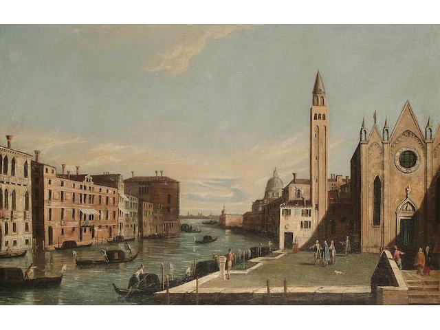 Follower of Antonio Canaletto Santa Maria della Carita' and the Grand Canal, 45.7 x 68.8 cm (18 x 27 in)