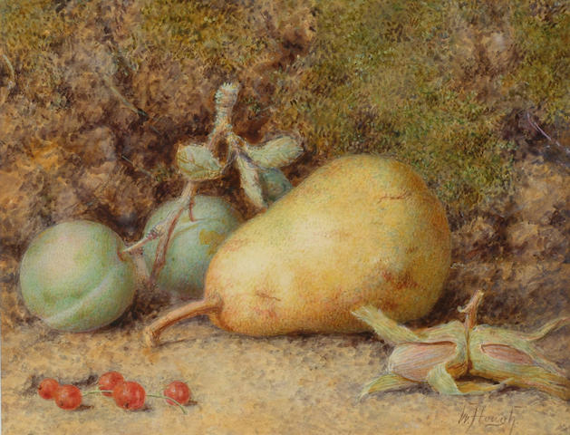 William Hough (fl.1857-1894) 'A pear, greengages and beech cobs' 16 x 20cm (6 1/4 x 8in)