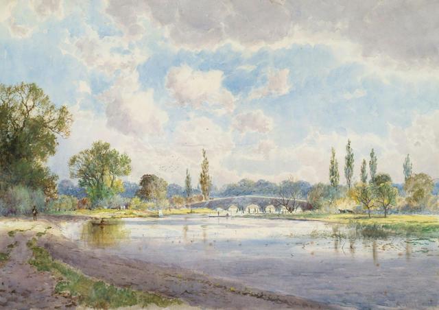 Arthur Willett (c.1857-1918) 'The Thames at Chertsey' 25 x 35cm (9 3/4 x 13 3/4in)