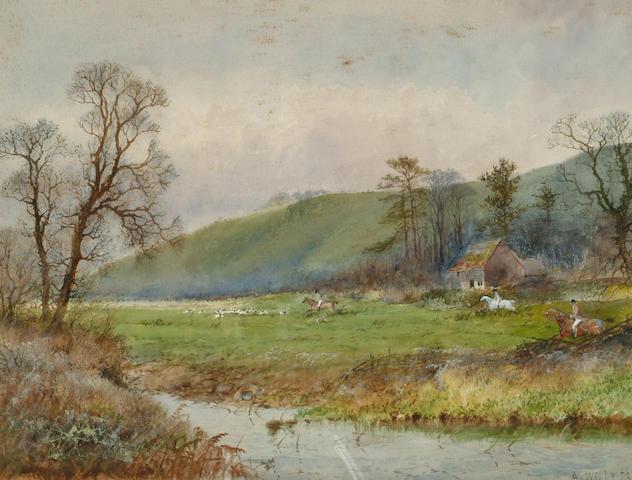 Arthur Willett (c.1857-1918) 'Hunting in a river landscape' 25 x 32cm (9 3/4 x 12 1/2in)