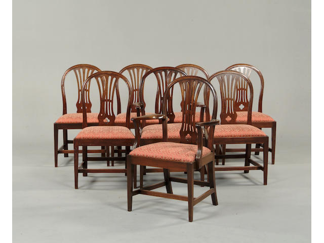 A matched set of eight mahogany dining chairs