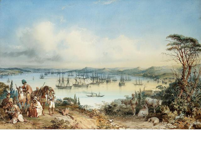 Amadeo Count Preziosi, w/c, The British Fleet in the Bosphorus