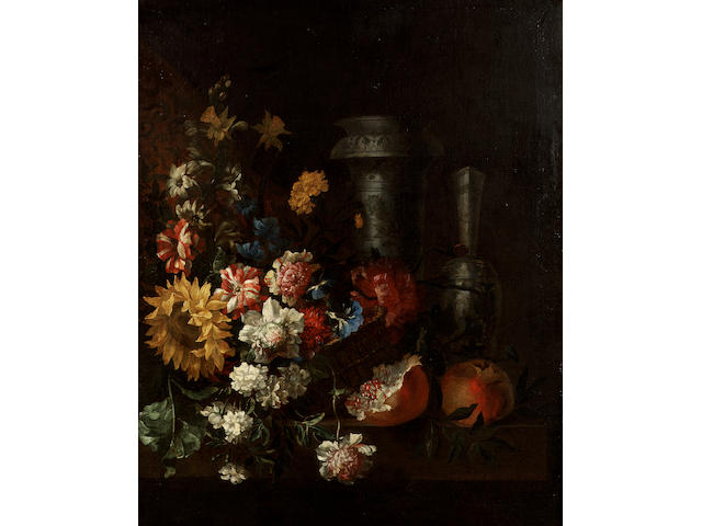 Jean-Baptiste Belin de Fontenay (Caen 1653-1715 Paris) A basket of carnations, morning glory, peonies and a sun flower with 85 x 69 cm. (33½ x 27 1/8 in.)