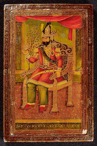 A lacquer papier-mache mirror case decorated with a portrait of Muhammad Shah Qajar (reigned 1834-48) enthroned and holding an astrological globe with the names of the signs of the zodiac Qajar Persia, dated AH 1261/AD 1845-46