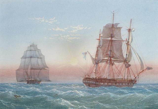 William Joy (British, 1803-1867) H.M.S. 'Sapphire', 28 guns, passing another frigate 21 x 29.8cm. (8 1/4 x 11 3/4in.)