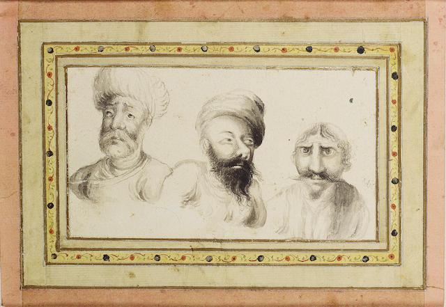 A study of three heads, signed by Muhammad Baqir Qajar Persia, first half of 19th Century