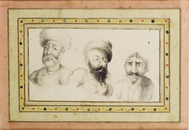 A study of three heads, signed by Muhammad Baqir Qajar Persia, first half of 19th Century