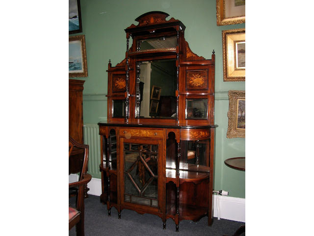 A late Victorian rosewood and marquetry inlaid Side Cabinet,