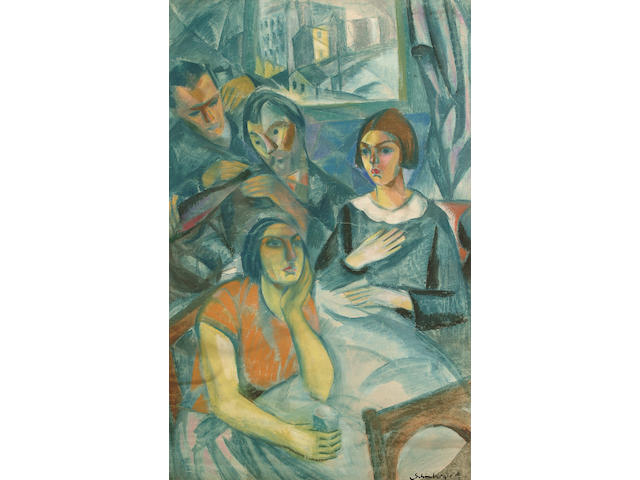Armand Schonberger (Hungarian, 1885-1974) Figures in a cafe 92 x 60cm (36 x 23 1/2in)