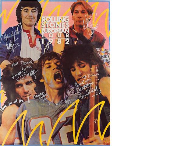 An autographed Rolling Stones 1982 European Tour poster,