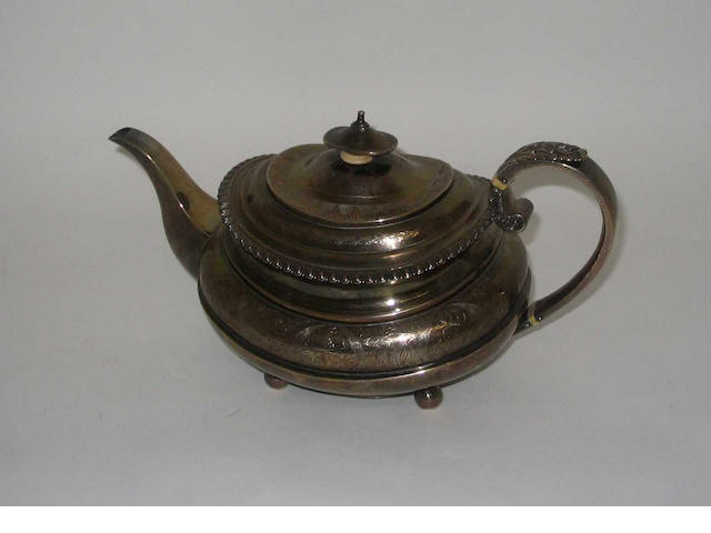 A George IV teapot,  by John Walton,  Newcastle,  1822,