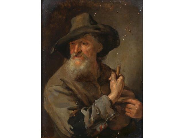Jacob Toorenvliet (Leiden circa 1635-1719) A peasant man holding a staff 17.7 x 13.5 cm. (7 x 5¼ in.)