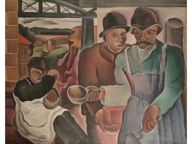 Frantisek Foltyn (Czechoslovakian, 1891-1976) Three figures in an interior 98 x 120cm (38 1/2 x 47 1/4in)
