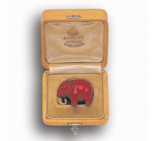 A miniature purpurine carving of an elephant by Fabergé