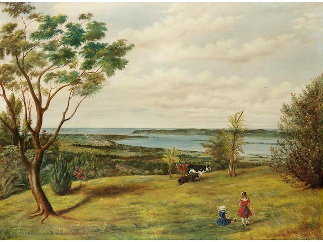 Edwin Roper Loftus Stocqueler (British, 1829-1895) The port of Durban, Natal, South Africa 73.6 x 98.4 cm. (29 x 38 3/4 in.)