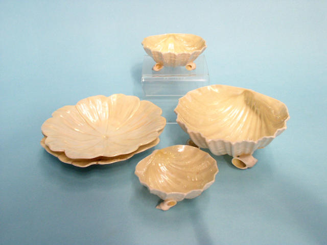 A group of Belleek dishes